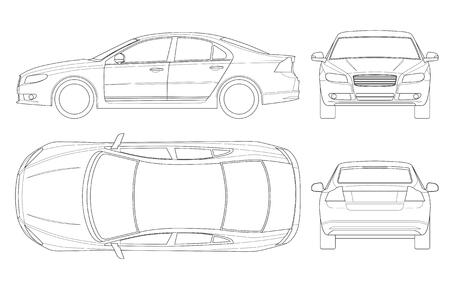 Coche sedán en contorno. Vector de plantilla de vehículo sedán de negocios aislado en blanco. Vista frontal, posterior, lateral, superior. Todos los elementos en grupos.
