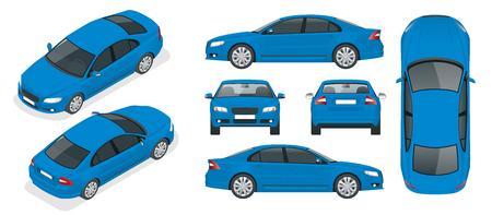 Conjunto de autos sedán. Coche aislado, plantilla para calificar y publicidad. Frontal, posterior, lateral, superior e isometría frontal y posterior. Cambia el color con un clic. Todos los elementos en grupos en capas separadas.