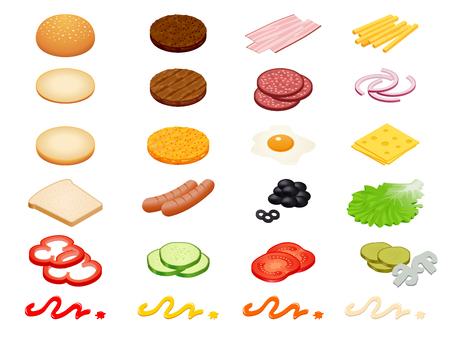 Ustawia wektorowego konstruktora isometric hamburgerów składniki i hamburger babeczki odizolowywać na białym tle.