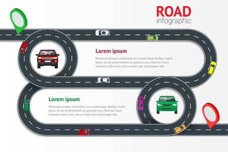 Road infographic template with colorful pin pointer vector illustration. Moving cars on road, top view. Path and travel, information and traffic map of asphalt street in city or town