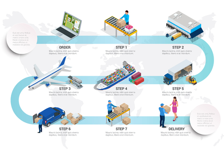 Isometric delivery concept with isometric vehicles for cargo transport. International trade logistics network.