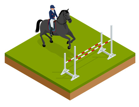 Jumping horse and rider practicing at racetrack. Illustration