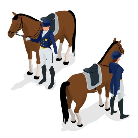 Jockey on the horse. Champion. Horse racing. Hippodrome. Racetrack. Jump racetrack. Isometric vector illustration