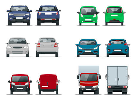 Vector set cars front and rear view. Sedan, off-road, compact, cargo truck, blank delivery minivan vehicles. Template vector isolated on white.