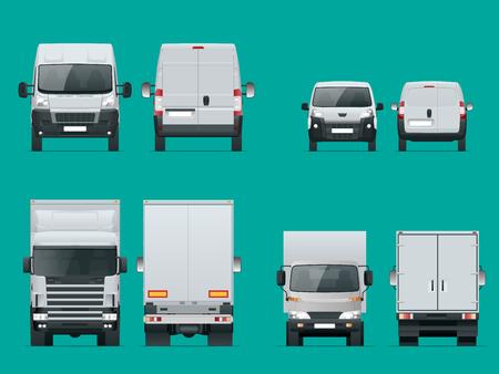 Set vrachtauto's voor en achteraanzicht. Levering voertuigen geïsoleerd. Vrachtwagen en bestelwagen. Vector illustratie. Stockfoto