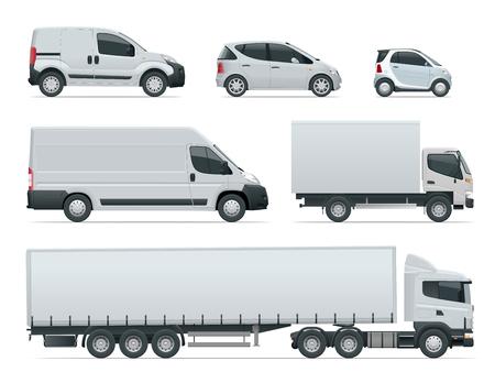 Reeks zijaanzicht van vrachtvrachtwagens. Levering voertuigen geïsoleerd. Vrachtwagen en bestelwagen. Vector illustratie. Stockfoto
