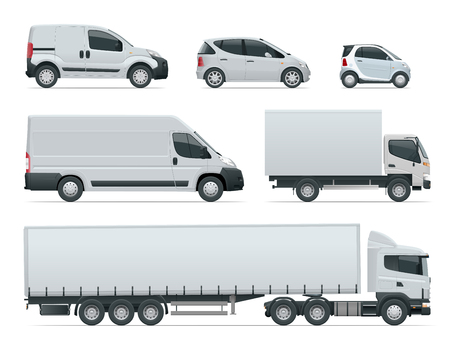 Set of cargo trucks side view. Delivery Vehicles isolated. Cargo Truck and Van. Vector illustration. Imagens