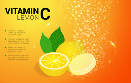 Vitamin C Lemon soluble pills with Lemon flavour in water with sparkling fizzy bubbles trail. Ascorbic acid. Vitamineral complex package design with citrus yellow background. Treatment cold flu. Иллюстрация