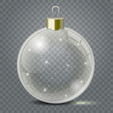 Glass Christmas toy on a transparent background. Stocking Christmas decorations or New Years. Transparent vector object for design, mock-up. Vettoriali
