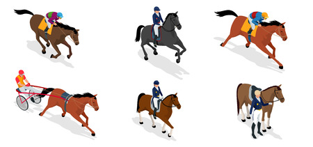 Isometric set Jockey on horse, Champion, Horse riding for Sport background. Stallion race track. Vector Illustration.