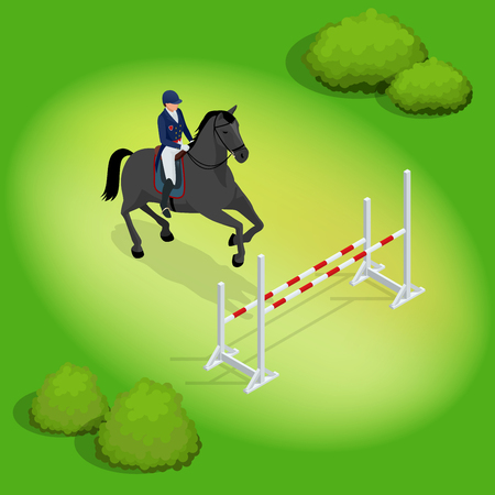 Isometric young rider girl performing jump at horse show jumping competition equestrian sport background vector illustration. Иллюстрация