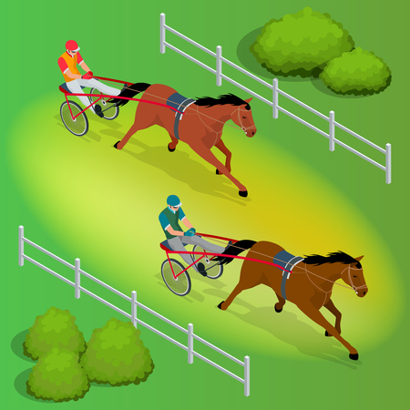 Isometric jockey and two racing horses competing with each other. Race in harness with a sulky or racing bike vector illustration.