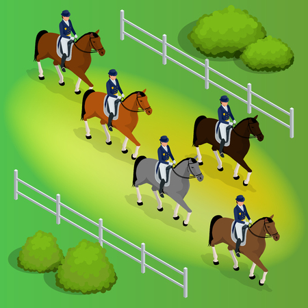 hippodrome: Isometric racehorses and lady jockey in uniform. Equestrian Jumping Athletes Sportswoman Games. Harness racing at the Hippodrome. Vector illustration.