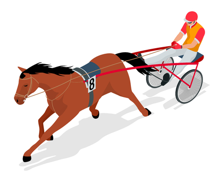 Isometric Jockey and horse. Racing horse competing. Race in harness with a sulky or racing bike. Vector illustration. Ilustração