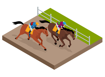 Isometric galloping race horses in racing competition competing with each other vector illustration Illustration