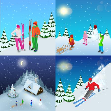 冬の活動的な休暇の概念。家族の健康的なライフ スタイルの山スキーヤーと遊ぶ子供の姿。孤立した要素。設計の冬のスポーツのイラスト。