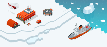 Isometric Antarctica station or polar station with buildings, meteorological research measurement tower, vehicles, helipad and icebreaker.