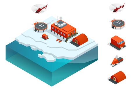 等尺性南極駅や建物、気象研究観測タワー、車、ヘリポートと極駅。