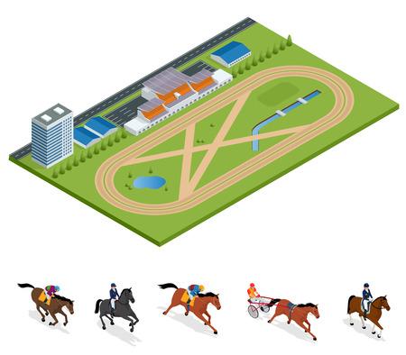 Hipódromo exterior isométrico y set Jockey a caballo, campeón, equitación para el fondo del deporte. Pista de carreras de Stallion. Ilustración vectorial Deporte ecuestre Ilustración de vector