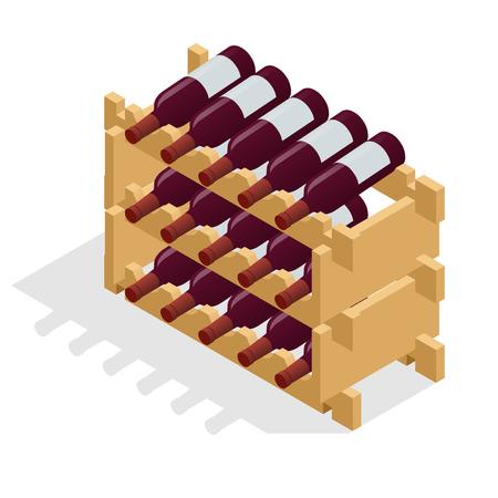 Isometrische Rotweinflaschen gestapelt auf Holzregalen. Vektorillustration lokalisiert auf weißem Hintergrund Vektorgrafik