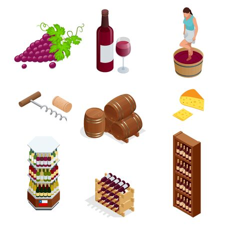 Isometric wine production icons collection. Vector illustration isolated on white background Illustration