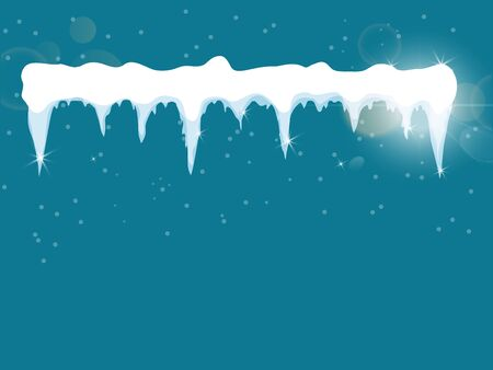 Set of cartoon snow design element on blue background Snow icicles, snow cap isolated. Snowy elements on winter background. Vector template