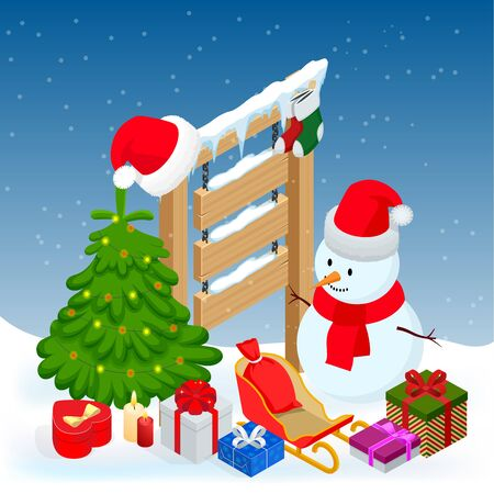 New year and Merry Christmas Winter background. Isometric vector illustration Stock Illustratie