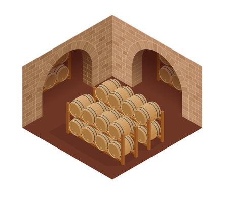 Weinfässer gestapelt im alten Keller der Weinkellerei. Isometrische Vektor-Illustration