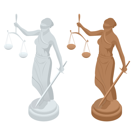 Isometric statue of god of justice Themis or Femida with scales and sword. Symbol of law and justice. Flat icon vector illustration.