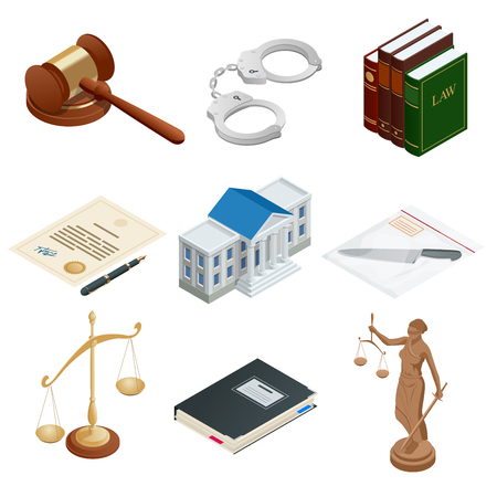 Isometric icons of isolated public justice symbols. Lawbook, handcuff, judge gavel, scales, paper, Themis. Vector illustration