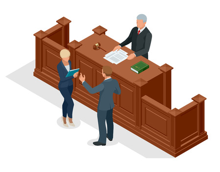 Isometric symbol of law and justice in the courtroom. Vector illustration judge bench defendant attorneys audience. Courtroom proceedings. Vettoriali