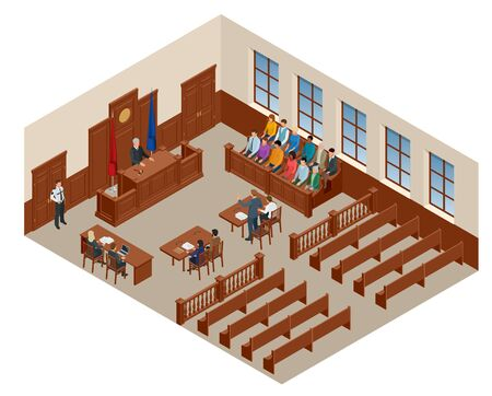 Isometric symbol of law and justice in the courtroom. Vector illustration judge bench defendant attorneys audience. Courtroom proceedings