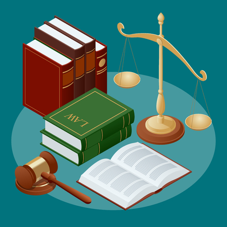 Law and justice conept. Symbol of law and justice. Flat icon vector illustration. Vettoriali