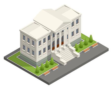 Isometrische rechtbank gebouw. Wet en rechtvaardigheid concept. Vector illustratie