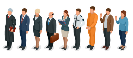 Isometric Law and Justice. People present in court judge, clerk, translator, lawyer, witness, plaintiff, defendant, stenographer, prosecutor, defendant, police officer Vector illustration Stock Photo