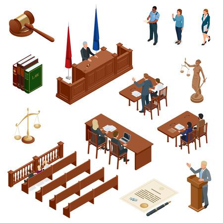 Isometrische Gesetz und Gerechtigkeit Vektor-Illustration Standard-Bild - 90913102