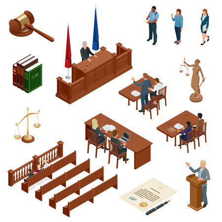 Isometric Law and Justice vector illustration