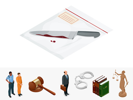 Isometric knife evidence in a transparent package.