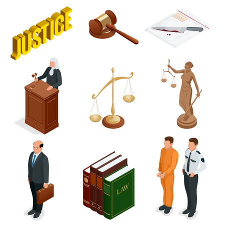 Isometric Law and Justice. Symbols of legal regulations. Juridical icons set. Legal juridical, tribunal and judgment, law and gavel, vector illustration