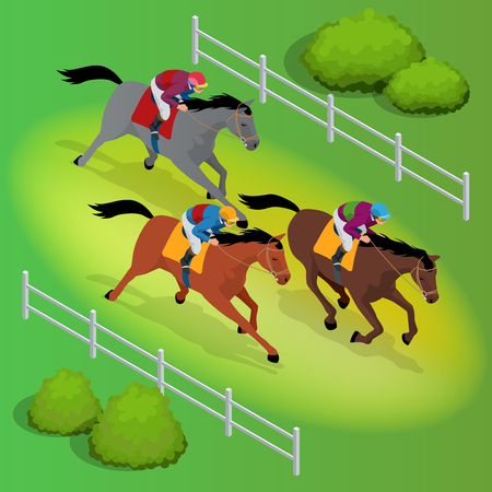 Isometric galloping race horses in racing competition. Illustration