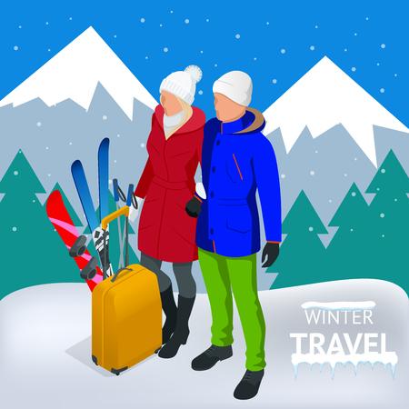 Winter travel concept card design.