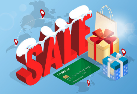 Winter christmas sale banner, vector illustration. Winter shopping concept. Shopping, offer, discount background Vettoriali