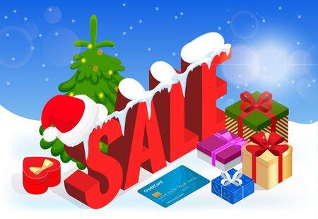 Winter Christmas sale banner design.
