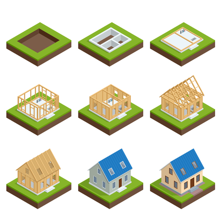 Isometric set stage-by-stage construction of a blockhouse. House building process. Foundation pouring, construction of walls, roof installation and landscape design vector illustration.