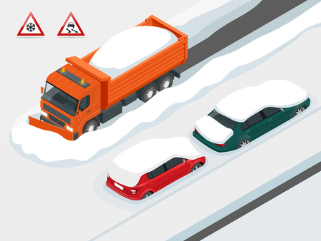 Snow plough truck clearing road after white-out winter snowstorm blizzard for vehicle access. Cars covered in snow on a road during snowfall. Can be used for advertisement, infographics, game. Illustration