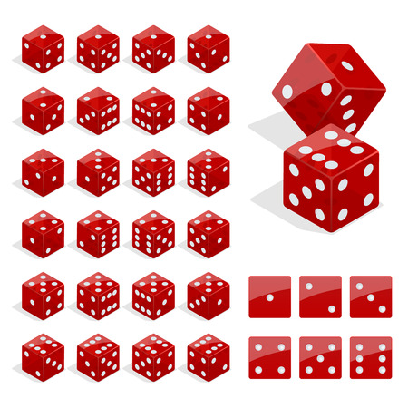Set of isometric dice combination. Red poker cubes vector isolated. Collection of gambling app and casino template Vector Illustration