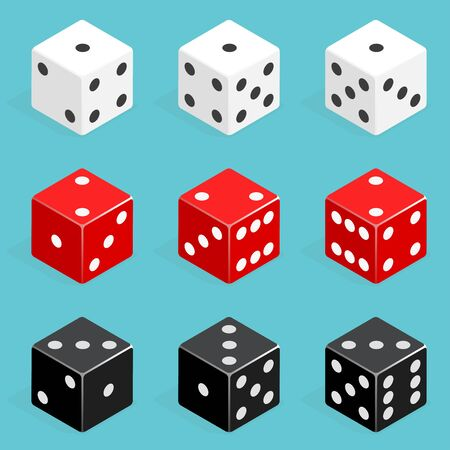 Set of isometric dice combination. Red, white and black poker cubes vector isolated. Collection of gambling app and casino template Illustration