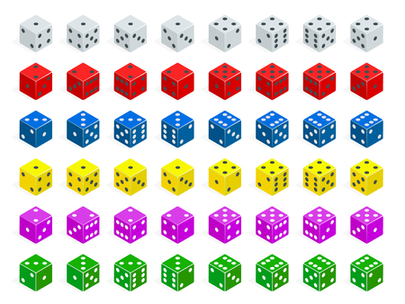 Set of isometric dice combination. White, red, yellow, green, blue and purple poker cubes vector isolated.