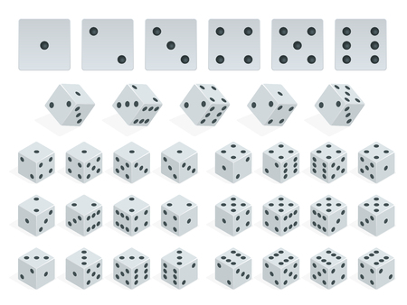 Set of isometric dice combination. White poker cubes vector isolated. Collection of gambling app and casino template