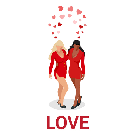 Isometric people LGBT Gay dating and Lesbian Couple Moments. Happiness Concept. Stock Photo
